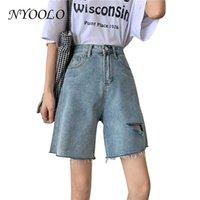 Shorts femininos nyoolo vintage streetwear rasgado buraco cintura alta denim 2021 verão Básico de grandes dimensões jeans azul