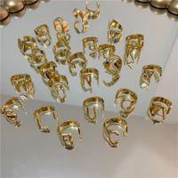 Mode Brief Ringe Ins Kubikringe Frauen Öffnen Manschettenring Beliebte Hip Hop Ring Für Geschenk Lady Jewelry 413 x2