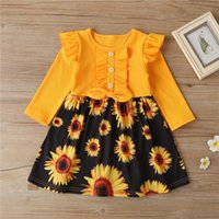 Spring And Autumn Girl Children's Clothing Sunflowers Dress Outfits Long Sleeve Print Bowknot Knee Length A-Line 1-6Y Girl's Dresses