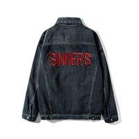 Sinners bordado jaqueta jeans destruído magro magro homens mulheres de alta qualidade cowboy motocycle jean jaqueta chaqueta hombre c0401