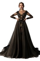 2021 Black and Nude Champagne Gothic Wedding Dresses Bridal Gowns Mermaid With Detachable Train Lace Tulle Long Sleeves Bride Dress Non White