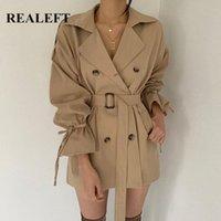 Realeft 2020 новая осень зима хаки минималистские женские женские пальто урезает ветровка свободных вспышек рукава двойной грубого траншеи C82N #