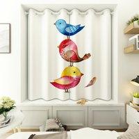 Criativo colorido pássaro 3D impresso blackout curta cortina para crianças sala baía janela decoração completa luz sombreamento de cozinha cortinas cortinas