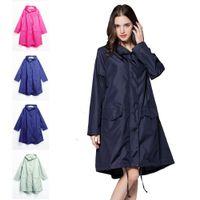 المطر المعطف ماء قابلة لإعادة الاستخدام ضوء المشي المعطف الكبار سترة معطف مقنع مع جيوب النساء المطران KDJK2104