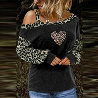 Women's Fashion Casual Leopard Blouse Cold Shoulder Long Sleeve Loose Pullover Tops Spring Autumn Womens And Blouses & Shirts