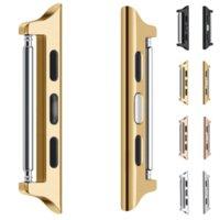 2021 Nequet Beinids Steel Correas Adapter para Apple Watch Series 5 4 3 2 1 38mm 40mm 42mm 44mm Conector de banda de la correa de metal Adaptador Iwatch Hebilla de la muñeca de aluminio enlazador