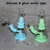 Silicone Bongs hookah glass water pipes dab rig 14 mm joint all Clear 4mm thickness 14mm male quartz nails bowl ash catcher