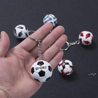 Mini Football Keychain Pendant Stainless Steel Luggage Decoration Key Chain Creative Fan Souvenir Gift Keyring FWA8880