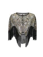 Wraps & Jackets 1920s Gatsby Premium Sequin Embroidered Shawl With Abstract Floral Design And Tassels Wedding Capelet