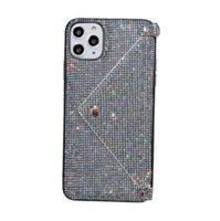 Portafoglio di lusso Portafoglio Telefono Cases Crossbody Bag Pocket Cover per iPhone 12 Pro Max 7 8Plus Huawei P30 P40 Fashion Diamond Diamond Glitter Bling Paillettes Catena Borsa