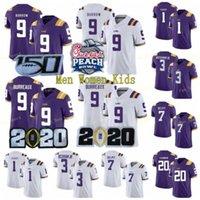 LSU 호랑이 # 9 Burreaux Joe Burrow 3 Beckham Jr. 7 Mathie Purple White 2020 챔피언 복숭아 패치 150th 125Th 스티치 NCAA 축구 유니폼