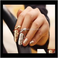 Band Jewelry Drop Delivery 2021 Exquisite Cute Retro Queen Dragonfly Design Rhinestone Plum Snake Gold/Sier Ring Finger Nail Rings Ps1622 Vml