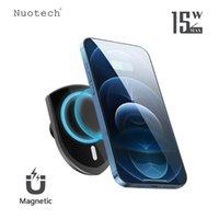 NUOTECH 15W QI 무선 자동차 충전기 12 PRO MAX S21 S9 노트 10 8 공기 환기구 마운트 MANGETIC 전화 홀더 셀 어댑터