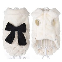 Funny Bowknot Dog Apparel dress Teddy Fighting Princess Costumes Fall Winter Warm Plush Coat Small Kitten Hoodie Puppy Pet Clothes