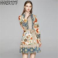 Günlük Elbiseler 2021 Yaz Pist Tasarımcısı Zarif Elbise kadın Uzun Kollu Çiçek Baskılı Baskı Vestidos