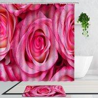Shower Curtains Pink Rose Plant Flowers Girly Bathroom Decor Curtain Set Non-Slip Bath Mat Carpet Bathtub Screen Home Decoration