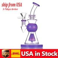 1 unids vidrio bong fumar tubo de fumar de 10,5 pulgadas de altura de 14 mm de 14 mm basura gruesa pluma dab rígido bongs con un tazón para fumar masculino en stock Estados Unidos