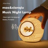 Yenilik aydınlatma silikon gece lambası usb şarj kedi çizgi topu müzik yatak odası başucu uyku göz bakımı hemşirelik çocuk lambası ile