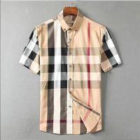 LUXURYS DESINGERS Vestido para hombres Negocio Casual Camisa Stripe Stripe Slim Masculine Social Fashion Plaid M-3XL # 04