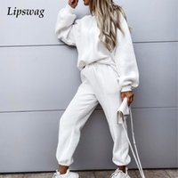 Women's Two Piece Pants Fashion Solid Long Sleeve Tops And Pocket Sweatpants Tracksuit Sports Women 2Pc Set Outfits Casual Loose Hooded Swea