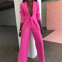 Women's Suits & Blazers Customized Womens Pants Suit Business Female Blazer Uniform Ladies Formal Trouser Tuxedo Rose Red Women