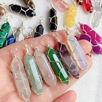 Natürlicher Stein Kristall Anhänger Gold Silber Wire Wrap Pendel Reiki Heilung Chakra Multicolor Quarz Lila Amethysts Bullet Point Sechseckiger Pendelo
