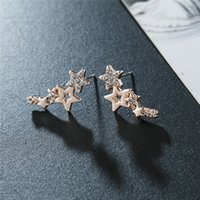 Fashion Simple Star Women Studs Earring Shiny White Zircon Exquisite Versatile Female Earrings Stylish Jewelry