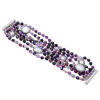 Guaiguai Schmuck 7Rows Pearl Purple Achate Natürliche Weiße Perle Schwarz CZ Gepflastertes Armband Handgemacht Für Frauen Echte Dame Fashion Jewellry