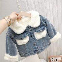 Jackets Girls Coat Jacket Overcoat 2021 Jean Warm Plus Velvet Thicken Winter Cotton Kids Teenagers Cardigan Christmas Gift Children's Cl