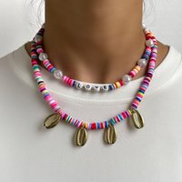 Chains Boho Rainbow Colors Polymer Clay Beads Shell Choker Necklace For Women Multilayer Pearl Beaded Love Letter Jewelry Gift