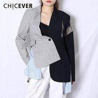 Chicever Patchwork повседневная женские пиджаки зарезанные с длинным рукавом туника хитание цвет асимметричные пальто женские 2021 осенний прилив