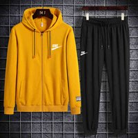 2021 spring fashion two piece cardigan sports men's casual sweater + casual pants suit men's 823