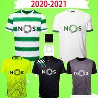 20 21 CLUBE DE SPORTING Lissabon Trikots 2020 2021 B.Fernandes Grün Schwarz SOCCE JERSEY Lissabon Dost Fußball Hemd Uniform nach Hause weg