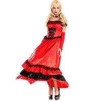 Catsuit 의상 섹시한 스페인어 집시 레드 캐캔 레이스 드레스 숄더 파티 롱 드레스 vestidos 플러스 사이즈 서부 살롱 소녀 드레스