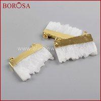 Pendenti Gioielli Borosa 10pcs Slice Bianco Quartz Crystal Druzy Connector Natural Drusy Pendant per collana fai da te WX1032