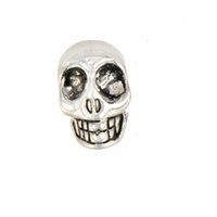 Jewelry Fittings Spacer Beads Alloy Charms Bracelets European DIY 6mm Round Large Hole Skull Antique Silver Metal Fashion New 14mm 100pcs