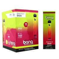E Cigarette Bang XXL Switch Duo 2 IN 1 Disposable Vape Pen Kit 2500Puffs Pre-filled Oil 7.0ml Pod device 1100mAh Battery pk puff bar plus