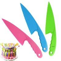DIY Küchenmesser für Kinder Safe Salat Salat Werkzeuge Messer Gezahnte Kunststoffschneider Slicer CakeBead-Messer Frühstück Cake Tool FWA4820