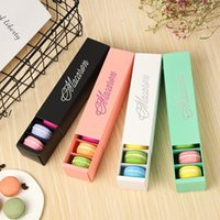 NEWMacaron Box Cake Boxes Home Made Macaron Chocolate Boxes Biscuit Muffin Box Retail Paper Packaging 20.5*5.4*5.4cm Black Green RRD11176