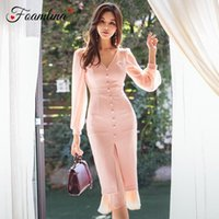 Casual Kleider FoamLina Sexy Frauen Bodycon Kleid Koreaner Mode Frühling Herbst Chiffon Patchwork Langarm Arbeit Party Bleistift