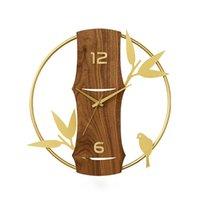 Orologio da parete in legno di lusso dorato orologio da parete soggiorno orologi domestici decorazione della casa arte creativa arte silenziosa orologi undefined regalo zegary