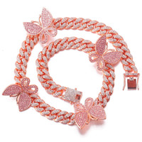 Hip hop Diamond Necklace Bracelet Set Butterfly personality hiphop Cuba cool big gold chain clavicle