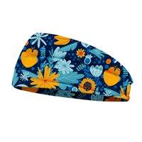 soft elastic Printed Headbands Mask Retro Style Yoga Wide Knit Sports Turban Woman Print Gypsy Airship Tie Tied Waist Knot Hygroscopic Headband Gift