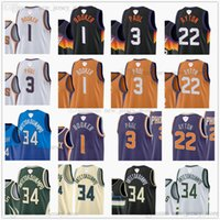 2021 Finaller Yama Devin 1 Booker Chris 3 Paul Basketbol Formaları 22 Deandre 34 Giannis Ayton Antetokounmpo Jersey Vadisi Siyah Şehir Beyaz Yeşil Turuncu 2021-22