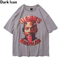 Icône sombre Icône Streetwear T-shirt pour hommes à manches courtes Summer Crêle Col Hipster T-shirts Homme Top 3Couleurs