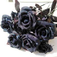 Decorative Flowers & Wreaths 1PC Black Peony Hydrangea Rose Artificial Flower Bouquet Home Decor DIY Wedding Wall Materials Po Props