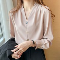 Women's Blouses & Shirts Shintimes with neckline in v chiffon female vintage shirt long sleeve button clothes fall women's tops chemisier femme HM8V