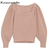 Кузувата сплошной цвет квадратный воротник вязаные пуловеры мода простые женщины свитера осенью зима пуховая рукава 1H591 женская