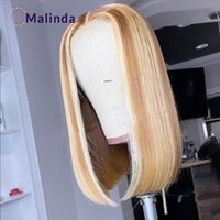 Lace Wigs Ombre Human Hair Wig Blonde Straight Short Bob For Women Highlight Pixie Cut Preplucked And Bleached Knots