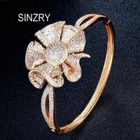 Personality Rose Gold Color Cubic Zirconia Flower Charm Banglesexaggerated Bridal Bracelet For Women Bangle